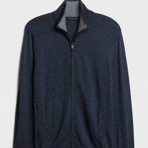 Mens Merlino Blend Mockneck Zip Sweater - Small